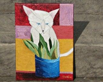 Art, Painting, Acrylic, Sassy White Cat, 12x16, Wrapped Canvas,