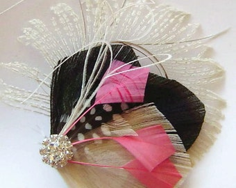 Black, Ivory, and Pink Peacock Hair Fascinator Clip Perfect for a Bride or Bridesmaids