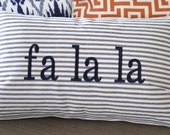 """Fa la la Christmas Pillow Cover 12"""" x 20"""" Navy/Natural Ticking Stripe Cotton Fabric with Navy Embroidery"""