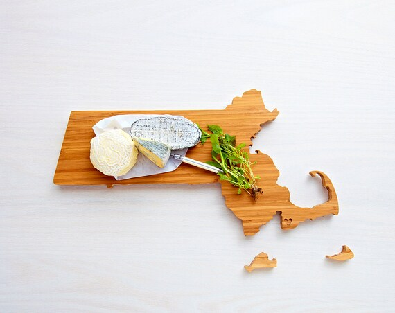 Massachusetts Cutting Board 4th of july Gift Personalized engraved Massachusetts cheese state shaped board