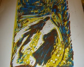 SALE - Only one left - Shadows on a Country Lane in France - Printmaking Lino cut Art