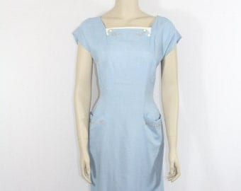 1950s Vintage Dress - Darling Blue Linen Wiggle Dress with ARROWS -  36 / 27/ 36