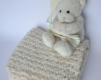 Crochet Baby Blanket, Baby Blanket, Lap Blanket, Crib Size Blanket, Alpaca Blanket, Christening Gift, White Baby Blanket, New Baby Gift