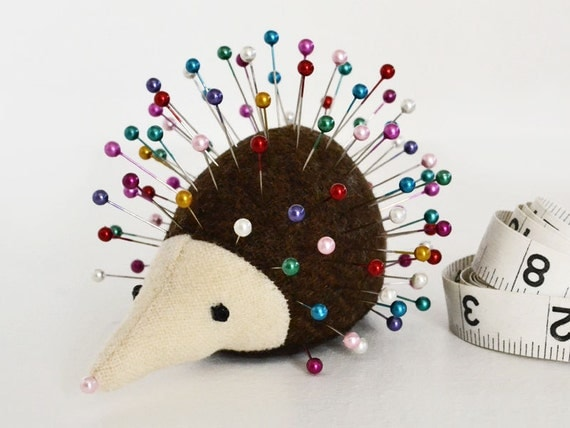 Pincushion, Hedgehog, upcycled wool, vintage, handmade, Cinnamon Sweetwood