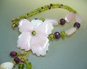 Pink opal carved flower, ruby, peridot gold necklace
