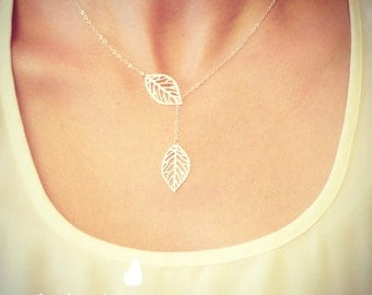 Leaf Lariat Petite - silver grey white small delicate leaf pendants - sterling silver chain - Wedding Jewelry - Bridal - Dainty Small