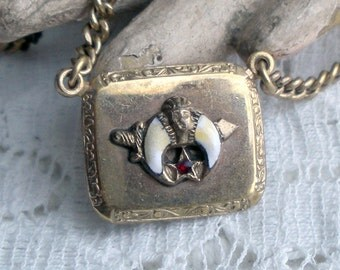 Vintage Shriners Enamel Tie Bar Chain Egyptian Symbols