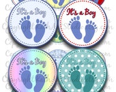Buy 2 GET 1 FREE - Instant Download - Baby boy feet footprints Collage Sheet - 2 inch circles for pendants, stickers, cupcake toppers 362