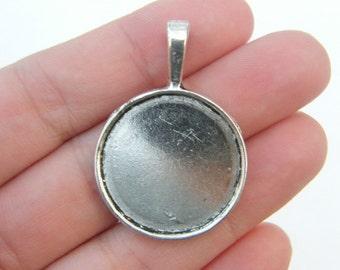 BULK 20 Cabochon frame pendants 39 x 28mm fits 25mm antique silver tone