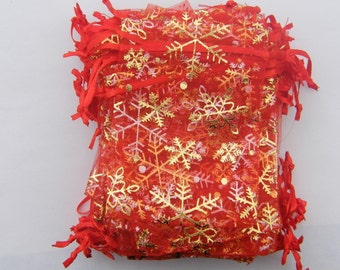 BULK 100 Organza bags 12 x  9cm red with gold snowflakes
