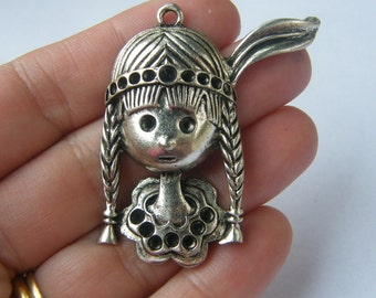 2 Native American pendants antique silver tone P114