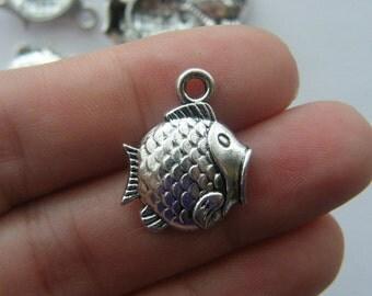 8 Fish charms tibetan silver BOX14