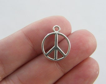 14 Peace sign charms antique silver tone P1