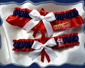 Red Satin Ribbon Wedding Set Made With St Louis Cardinals Fabric