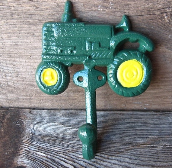 John Deere Home Decor : Farmhouse chic cast iron tractor hook home decor for the