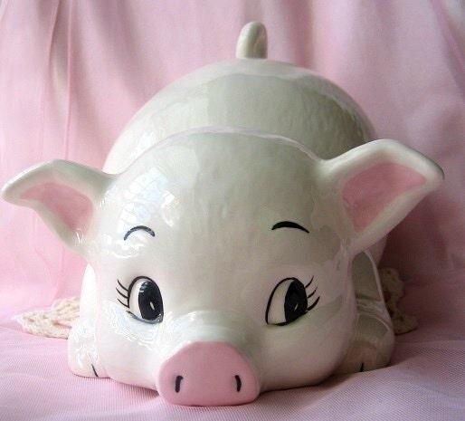 Vintage Ceramic Pig Statue Babies Room Nursery Decor Gift