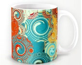 Turquoise and Red Swirls Coffee Mug 11 oz or 15 oz Ceramic beverage cup - kitchen decor - glassware - colorful mugs, designer mugs