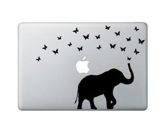 Elephant & Butterflies Macbook Decal - Elephant Laptop Decal - Butterfly Decal