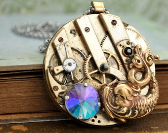 steampunk jewelry, oversized necklce, LEGEND OF KOI, Victorian style antique brass koi fish necklace with antique brass watch movement