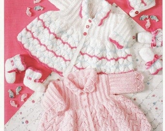 Baby KNITTING PATTERN - Matinee Sets - Bonnet, Bootees and Jackets/Sweaters/ Cardigans - Sizes 14 in - 18 in PDF