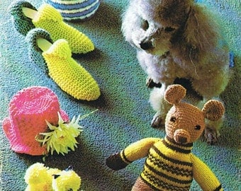 Knitting Pattern PDF - Bazaar Knits - Teddy, Poodle, Slippers, Tea Cosies - 23 PAGES
