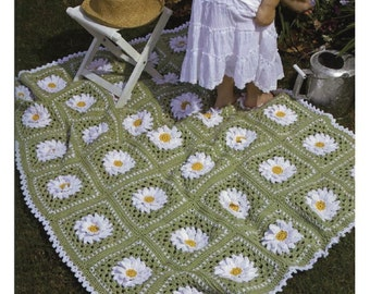 Crochet Pattern - Afghan/Blanket/Lap cover - Daisy Afghan