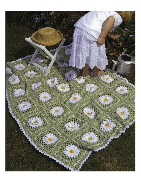 Crochet Patterns Lap Blankets : Crochet Pattern - Afghan/Blanket/Lap cover - Daisy Afghan