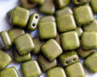 6mm CzechMates Tile Beads - Moon Dust - Opaque Olive - Picasso Czech Glass Beads - Two Hole Tile Beads - Bead Soup Beads