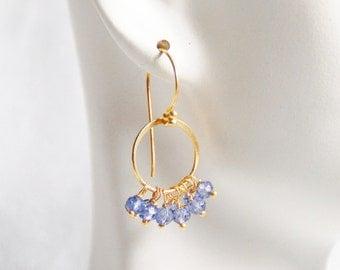 Iolite Quartz Hoop Earrings- Iolite Cluster Dangle Drop Earrings
