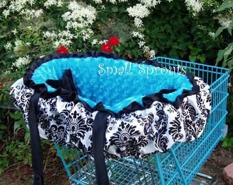 Custom Black Damask/Turquoise Minky Dot Fancy Shopping Cart Cover