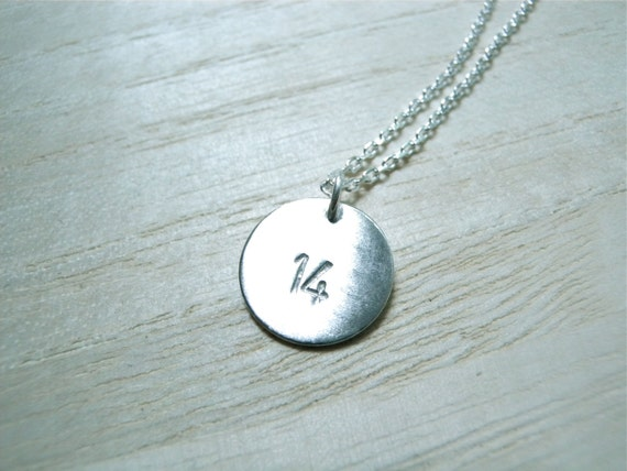 Number 14 necklace hand stamped silver disc necklace - personalized jewelry for everyday wear - perfect gift idea