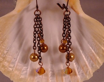 Antiqued Copper Chain Earrings With Amber Swarovski Crystals