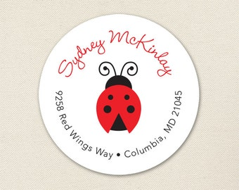 Ladybug Address Labels - Sheet of 24