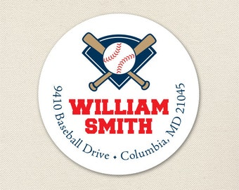 Baseball Address Labels - Sheet of 24