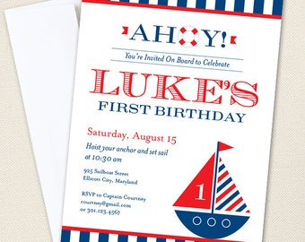 Nautical Party Invitations - Professionally printed *or* DIY printable