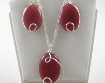 SP-0267 Cherry Quartz Gemstone Necklace & Earring Set Wire Wrapped with Sterling Silver Wire