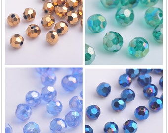 50pcs 8X8mm Round Facted Crystal Glass Charms Loose Spacer Beads Jewelry Making Crafts Findings --- Multi colors YZ004