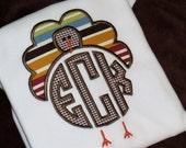 Boys Turkey Shirt, Boys Turkey Monogram, Circle Monogram, Turkey Applique, Shirt, Bodysuit, Baby Gown, Personalized, Fall, Thanksgiving