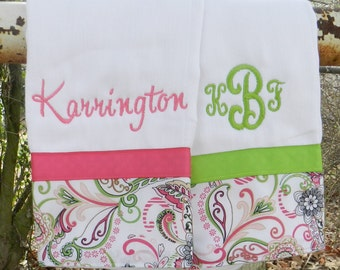 Personalized monogram girl burp cloth set, baby shower gift