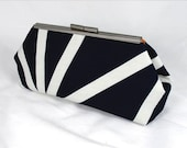 Geo Blk white clutch lined with contrast color faux silk - Framed Clutch-  Purse - Bag