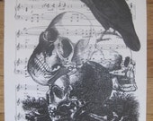 NEW creepy halloween skull on vintage sheet music