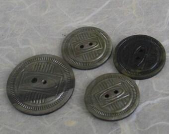 SALE Vintage Green Celluloid Buttons