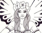 Steampunk Fairy ORIGINAL Drawing Ink Sketch