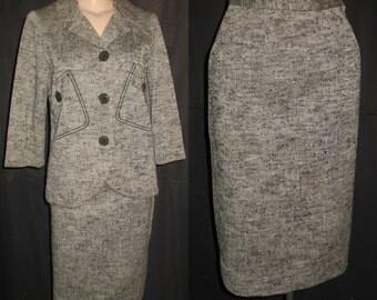 VINTAGE 1950s Skirt Suit Black White Cotton Blend Pencil Skirt Size Small