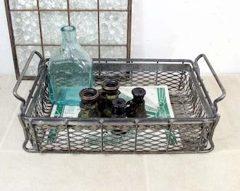 Vintage Industrial Metal Basket / Industrial Storage / Stacking Wire Basket / Wire Ledge