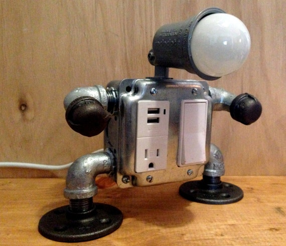 Robot lamp with USB outlet