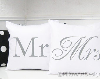 Mr and Mrs Couples Pillow Cases Hand Painted Grey and White Fully Lined Made in Canada Ready to Ship