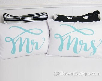 Mr and Mrs Pillow Covers Lumbar Pillow Covers Couples White 12 X 18 Fully Lined Hand Painted Made in Canada