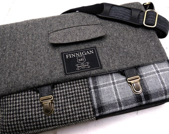 "Mens 15"" laptop Messenger Bag , 15""  Macbook Pro Laptop Sleeve, tote bag, Black Gray Plaid Wool, Recycled suit coat"
