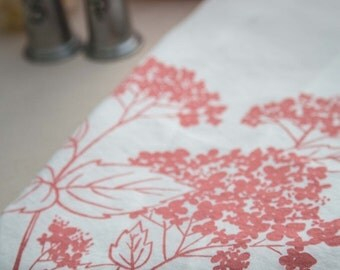 Tea Towel - Organic Linen Towel - Hydrangea - Hand Screen Printed Dish Towel